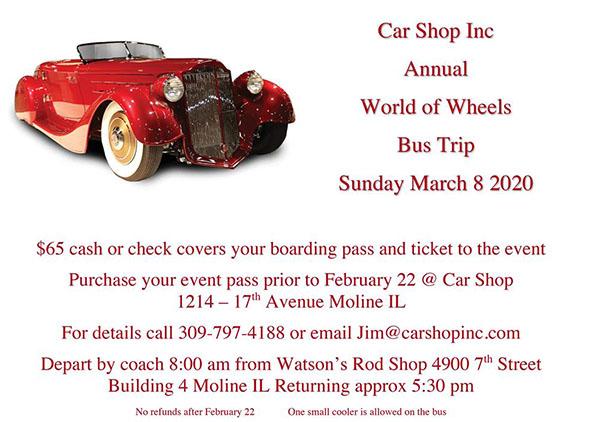 Car Shop Inc Annual World of Wheels Bus Trip