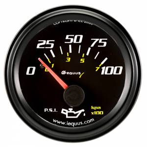 EQUUS #E6234 2.0 Dia Oil Pressure Gauge Black  0-100psi