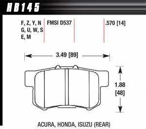 HAWK BRAKE #HB145N.570 Street Brake Pads Rear Honda HP Plus