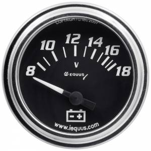 EQUUS #E7268 2.0 Dia Voltmeter Gauge Chrome 8-18 Volts