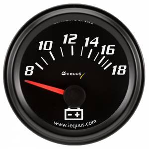 EQUUS #E6268 2.0 Dia Voltmeter Gauge Black 8-18 Volts