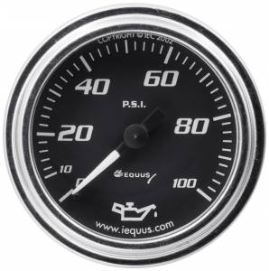 EQUUS #E7244 2.0 Dia Oil Pressure Gauge Chrome  0-100psi