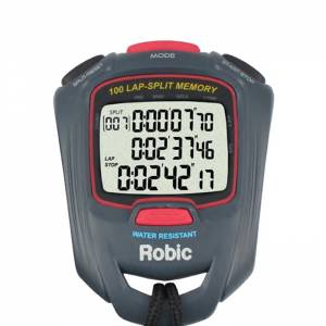 ROBIC WATCHES #87917 Stopwatch SC-717W 100 Lap Dual Memory