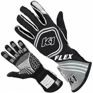 K1 RACEGEAR #23-FLX-NG-4XS Glove Flex Grey / Black 4-XS Youth