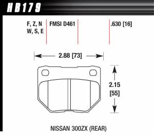 HAWK BRAKE #HB179F.630 Street Brake Pads Rear Nissan 300ZX HPS