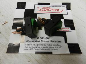 FASTRONIX SOLUTIONS #301-304 ROUND HOLE ROCKER SWITCH SPST GREEN GLOW (2)