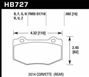 HAWK BRAKE #HB727Z.592 Street Brake Pads Rear Corvette Perf. Ceramic