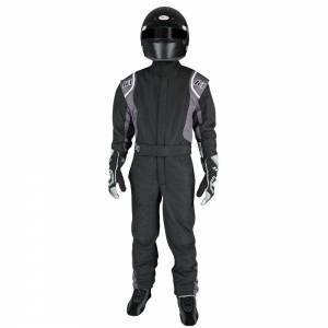 K1 RACEGEAR #20-PRY-NG-3XS Suit Precision II Black / Gray 3X-Small Youth