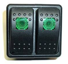 FASTRONIX SOLUTIONS #930-032 LIGHTED ROCKER SWITCH  PANEL 2 SWITCHS