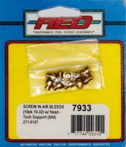 ADVANCED ENGINE DESIGN #7933 10-32 Screw-In Air Bleed (10pk) w/Head