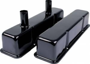 ALLSTAR PERFORMANCE #ALL26147 Valve Covers SBC Steel Black w/Tubes