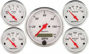 AUTO METER #1302 Arctic White Gauge Kit W/Red Pointer