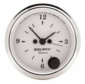 AUTO METER #1686 Old Tyme White 2 1/16in Quartz Clock
