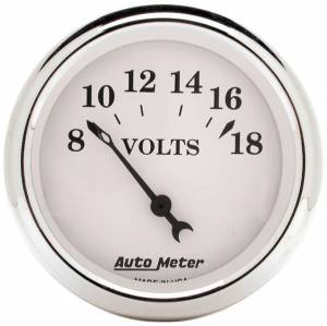 AUTO METER #1692 Old Tyme White 2 1/16in Voltmeter 8-18