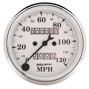 AUTO METER #1693 Old Tyme White 3 1/8in 120MPH Mech. Speedo