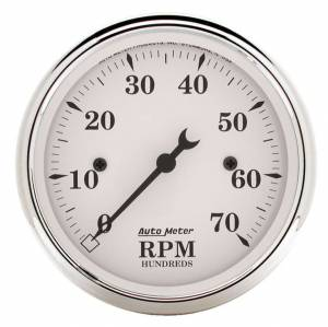 AUTO METER #1695 Old Tyme White 3 1/8in Tach 7000 RPM Elec.
