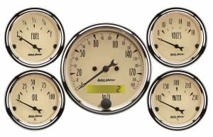 AUTO METER #1809-M A/B 5pc. Gauge Kit w/ Elec. Speedo - Metric