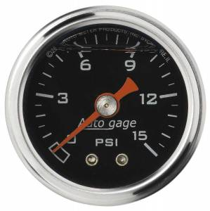 AUTO METER #2172 1-1/2in Pressure Gauge - 0-15psi - Black Face