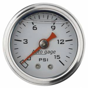 AUTO METER #2175 1-1/2in Pressure Gauge 0-15psi- White
