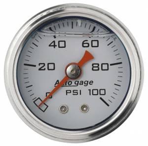 AUTO METER #2177 1-1/2in Pressure Gauge 0-100psi- White