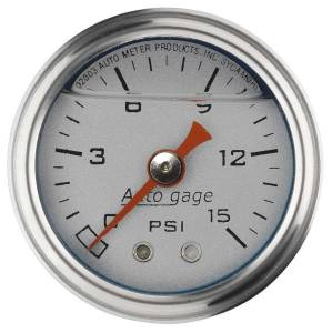 AUTO METER #2178 1-1/2in Pressure Gauge - 0-15psi - Silver Face