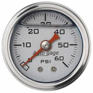 AUTO METER #2179 1-1/2in Pressure Gauge - 0-60psi - Silver Face