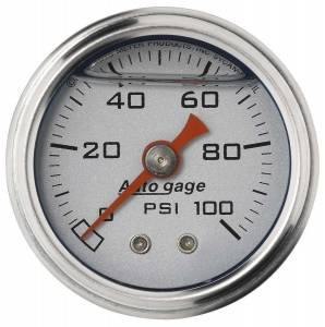AUTO METER #2180 1-1/2in Pressure Gauge - 0-100psi - Silver Face
