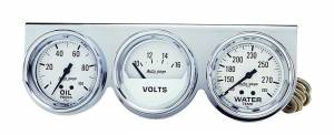 AUTO METER #2329 2-5/8in Oil/Volt/Water Chrome Console