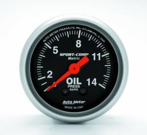 AUTO METER #3322-J 2-1/16 S/C Oil Pressure Gauge - Metric