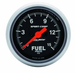 AUTO METER #3361 Sport Comp 2 1/16in Fuel 0-15 PSI Elec.