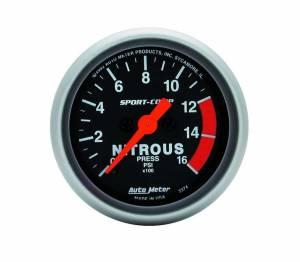 AUTO METER #3374 2-1/16in S/C Nitrous Press. Gauge 0-1600psi