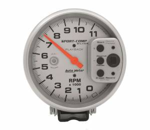 AUTO METER #3965 5in S/C Silver 11000 RPM Playback Tach