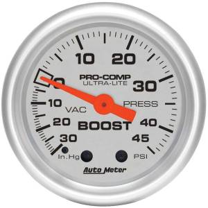 AUTO METER #4308 2-1/16in U/L Boost/Vac Gauge 30/45