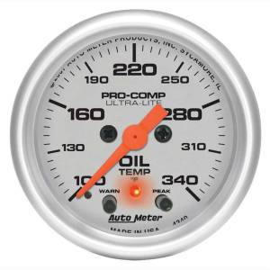 AUTO METER #4340 2-1/16in U/L Oil Temp Gauge w/Peak & Warning