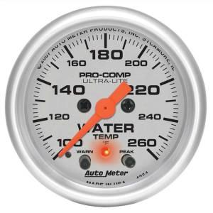 AUTO METER #4354 2-1/16in U/L Water Temp Gauge w/Peak & Warning