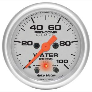 AUTO METER #4368 2-1/16in U/L Water Press. Gauge w/Peak & Wa