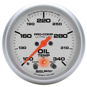 AUTO METER #4440 2-5/8in U/L Oil Temp Gauge w/Peak & Warning