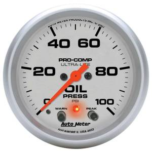 AUTO METER #4452 2-5/8in U/L Oil Pressure Gauge w/Peak & Warning