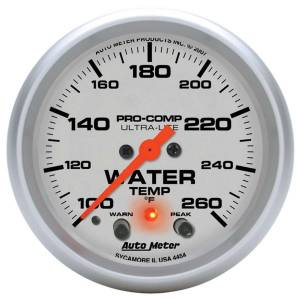 AUTO METER #4454 2-5/8in U/L Water Temp Gauge w/Peak & Warning