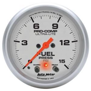 AUTO METER #4470 2-5/8in U/L Fuel Press. Gauge w/Peak & Warning
