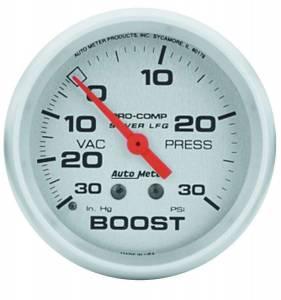 AUTO METER #4603 U/L 2-5/8in Silver Liq-Fill Boost 30/30