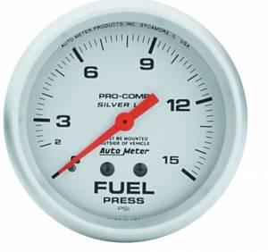 AUTO METER #4611 Pro Comp 2-5/8in Silver Liq-Fill Fuel 0-15 PSI
