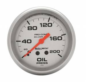AUTO METER #4622 Pro Comp 2-5/8in Silver Liq-Fill Oil 0-200 PSI