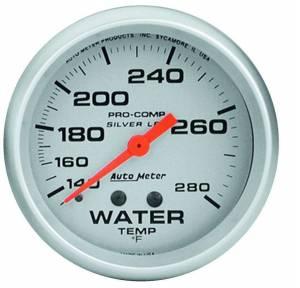 AUTO METER #4631 Pro Comp 2-5/8in Silver Liq-Fill Water 140-280