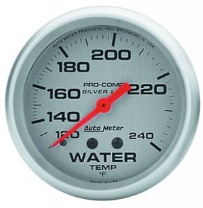 AUTO METER #4632 Pro Comp 2-5/8in Silver Liq-Fill Water 120-240