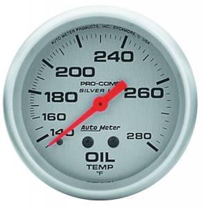 AUTO METER #4641 Pro Comp 2-5/8in Silver Liq-Fill Oil 140-280