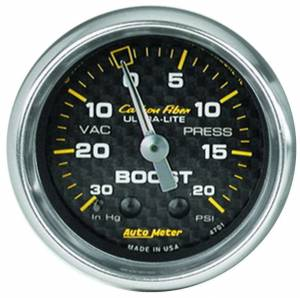 AUTO METER #4701 2-1/16in C/F Boost Gauge 30in HG/20psi