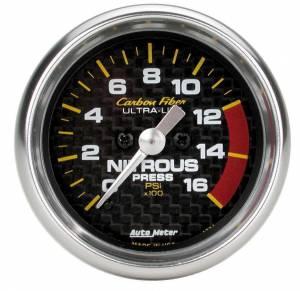 AUTO METER #4774 2-1/16in C/F Nitrous Press. Gauge 0-1600psi