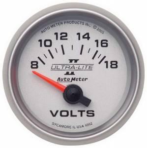 AUTO METER #4992 2-1/16in U/L II Voltmeter 8-18 Short Swp