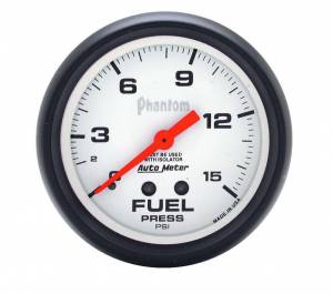 AUTO METER #5813 2-5/8in Phantom Fuel Press. Gauge 0-15psi
